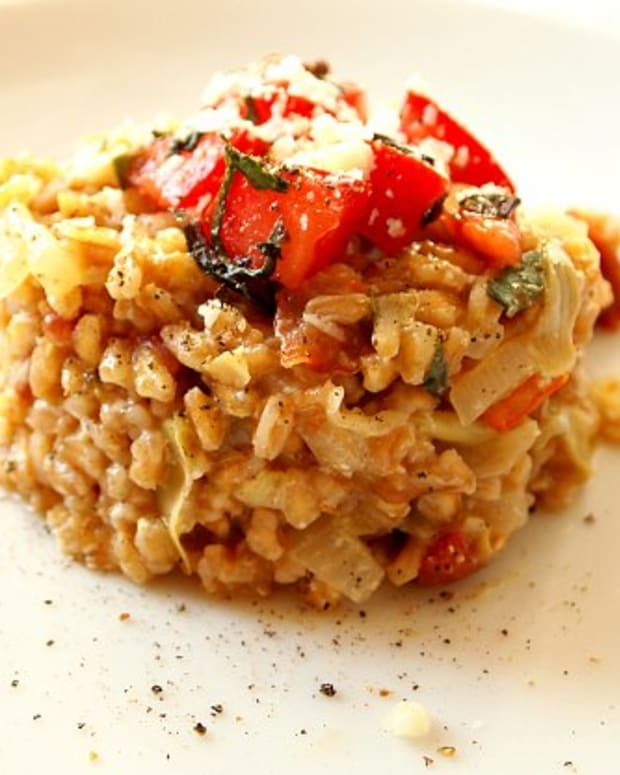 artichoke and sun dried tomato farroto risotto