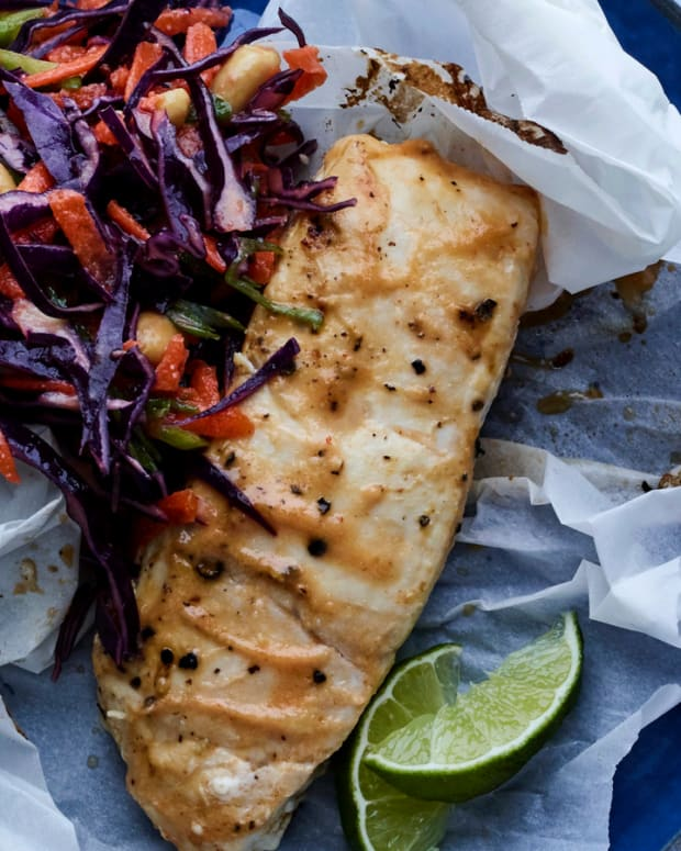 Miso and Lime Halibute En Papillote