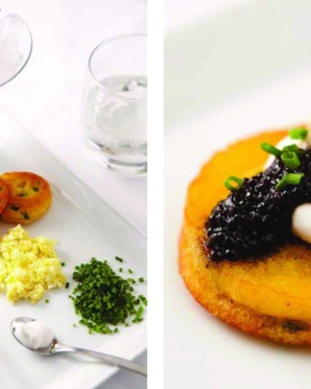 corn and honey blinis with kosher caviar