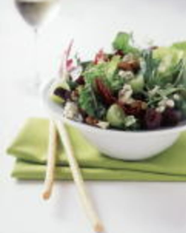 Baby Greens with Grapes, Hot-Sweet Pecans and Gorgonzola Vinaigrette