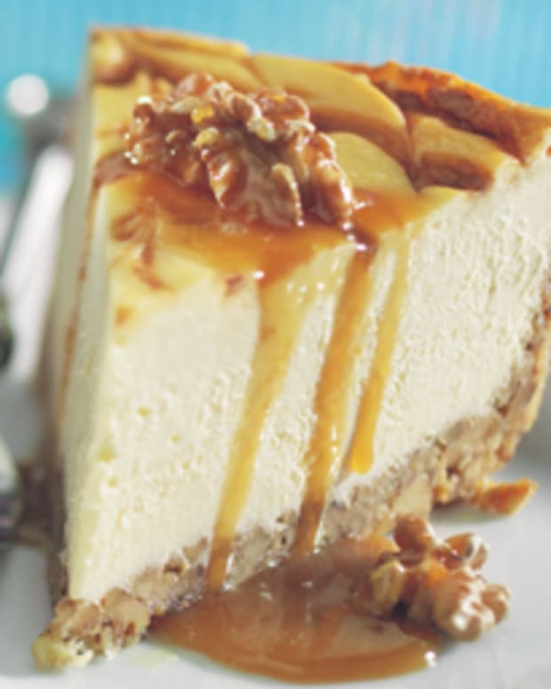 Walnut Crusted Caramel-Bourbon Swirl Cheesecake