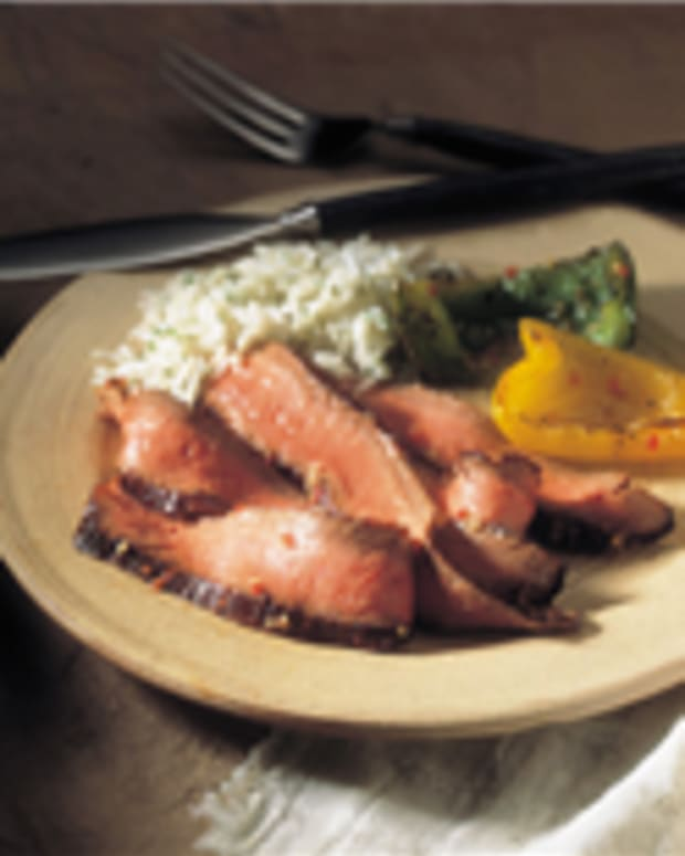 Southwest Marinated Beef Steak With Grilled Peppers