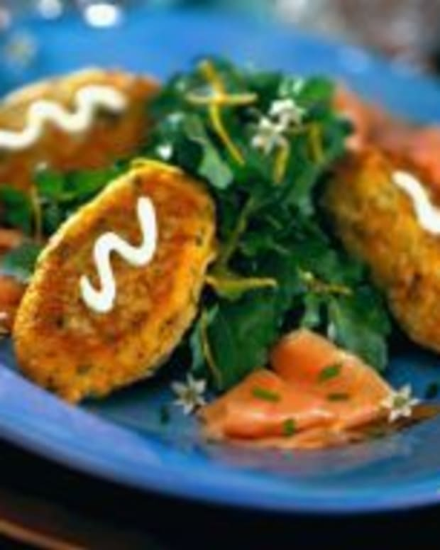 Herb Potato Fritters with Smoked Atlantic Salmon & Watercress