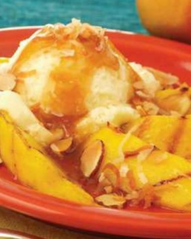Grilled Mango with Spicy Rum Glaze and Vanilla Ice Cream