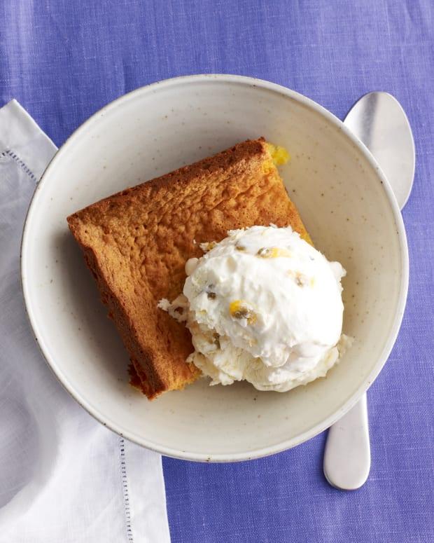 flourless pound cake with passion fruit ice cream