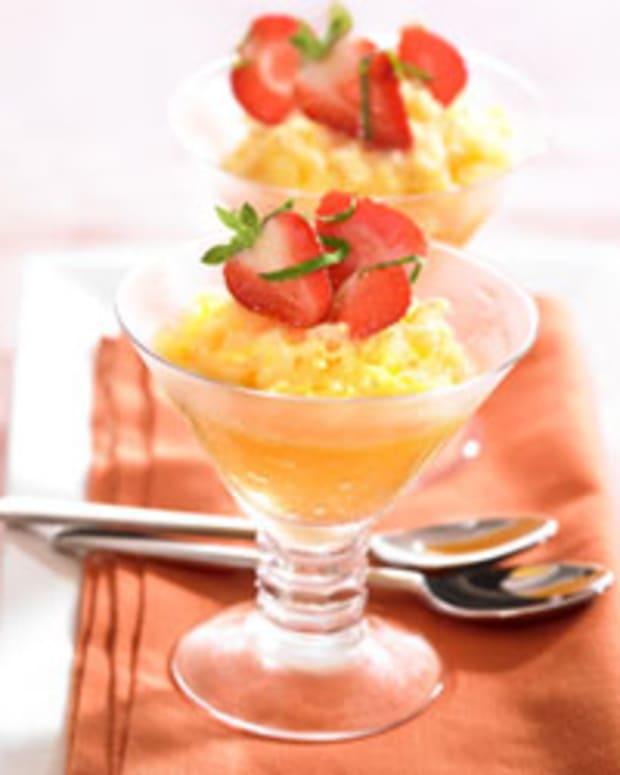 Orange Granita with Balsamic and Mint Strawberries