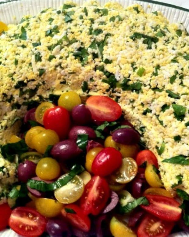 riced egg mold salad