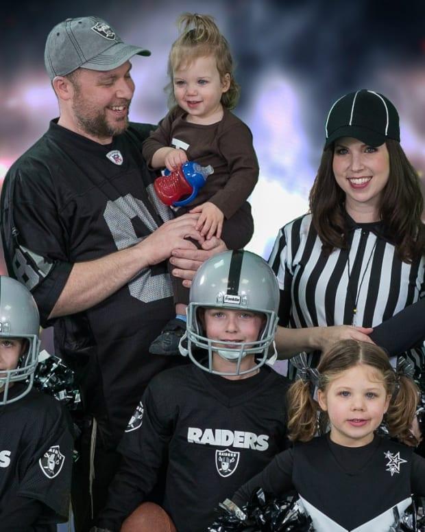 Jamie Geller Family Dressed as a Raiders team