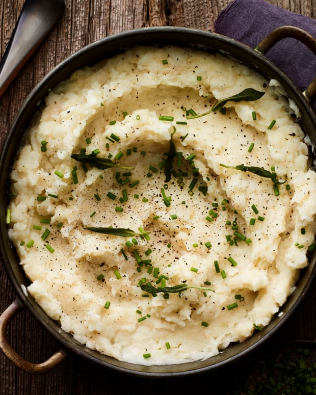 CELERY ROOT ROASTED GARLIC MASHED POTATOES