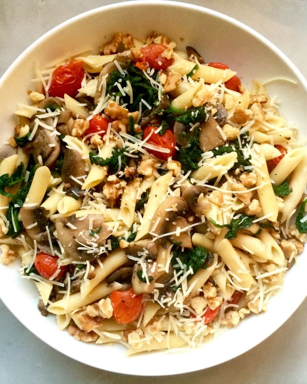 Summer Pasta with Veggies, Walnuts, and Parmesan