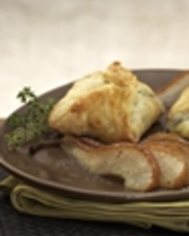 Warm Gorgonzola Turnovers with Caramelized Pears