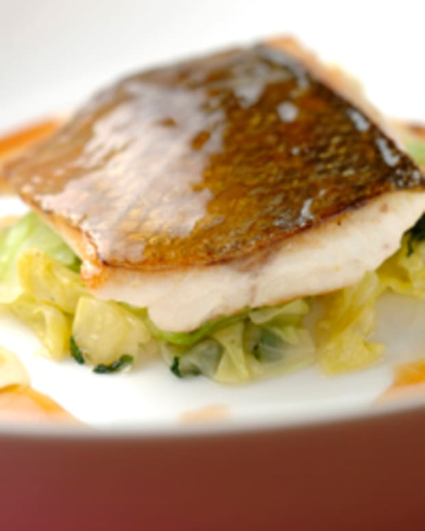 Grapefruit Sea Bass with Cabbage and Basil Salad