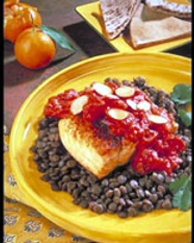 Salmon and Lentils with Moroccan Tomato Sauce