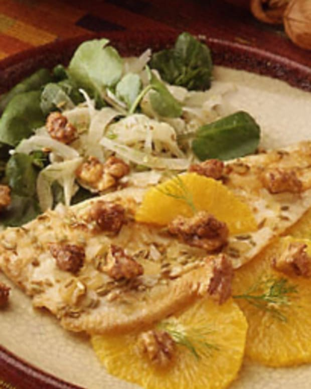 Orange Trout Salad with Spiced Walnuts
