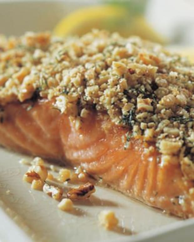 crunchy walnut crusted salmon filet