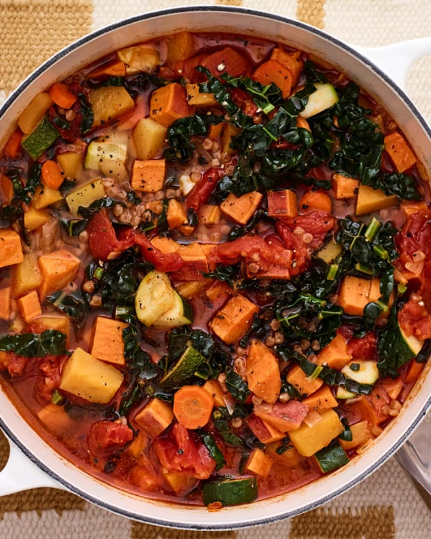 colorful veggie soup with Israeli couscous
