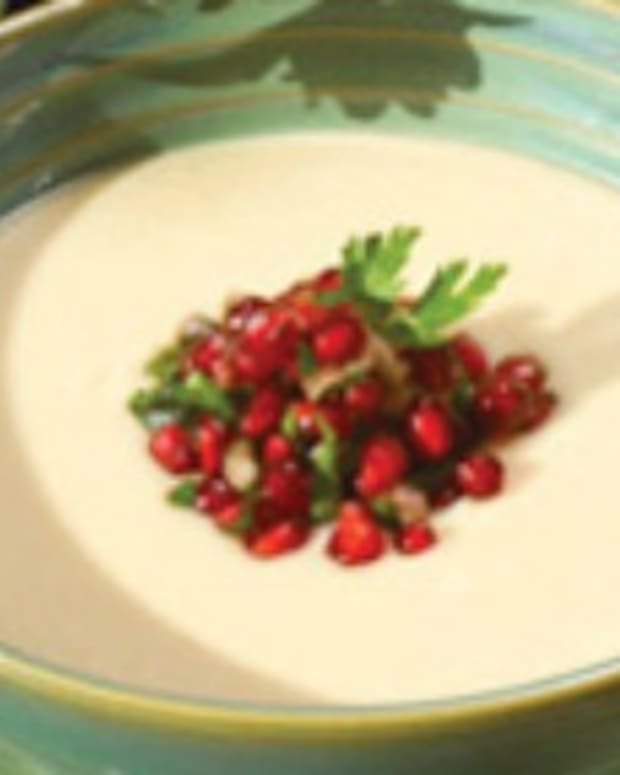 White Bean Soup with Pomegranate Salsa