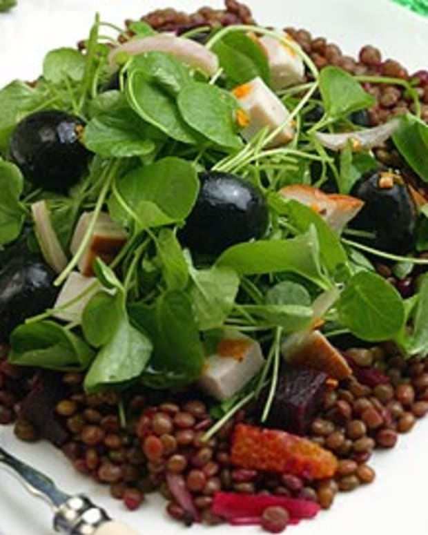 Smoked Turkey, Ripe Olive and Lentil Salad