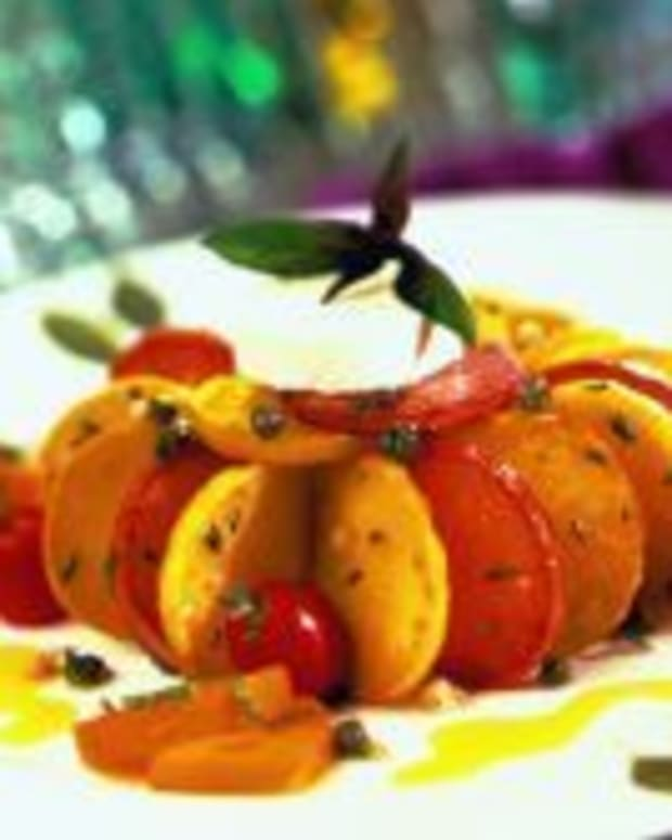 Grilled Idaho® Potato Salad with Warm Goat Cheese and a Yellow Tomato Vinaigrette