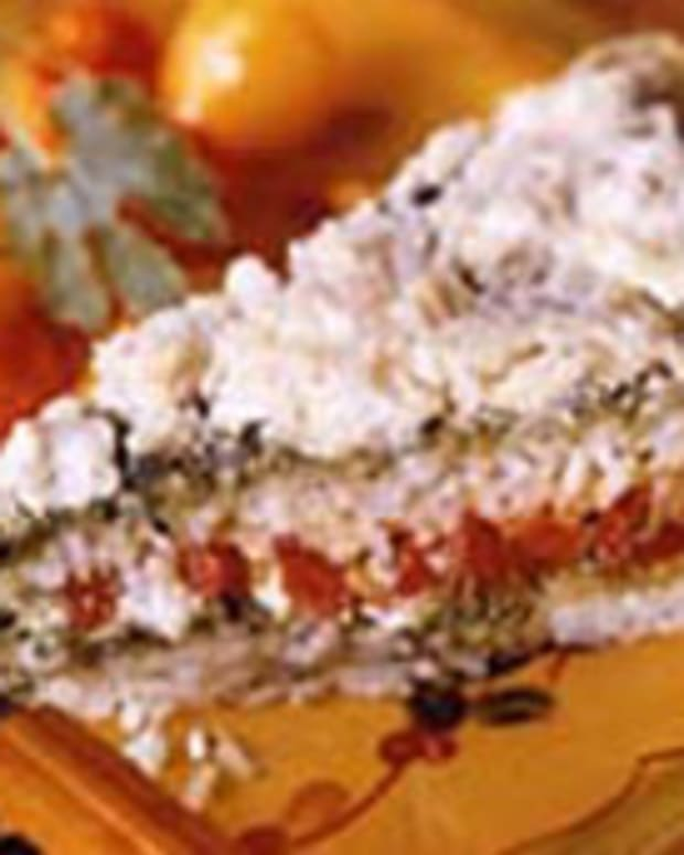 Layered Rice Pesto And Pepper Bake
