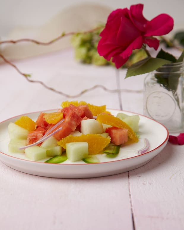 rosewater and cucumber salad with melon and oranges
