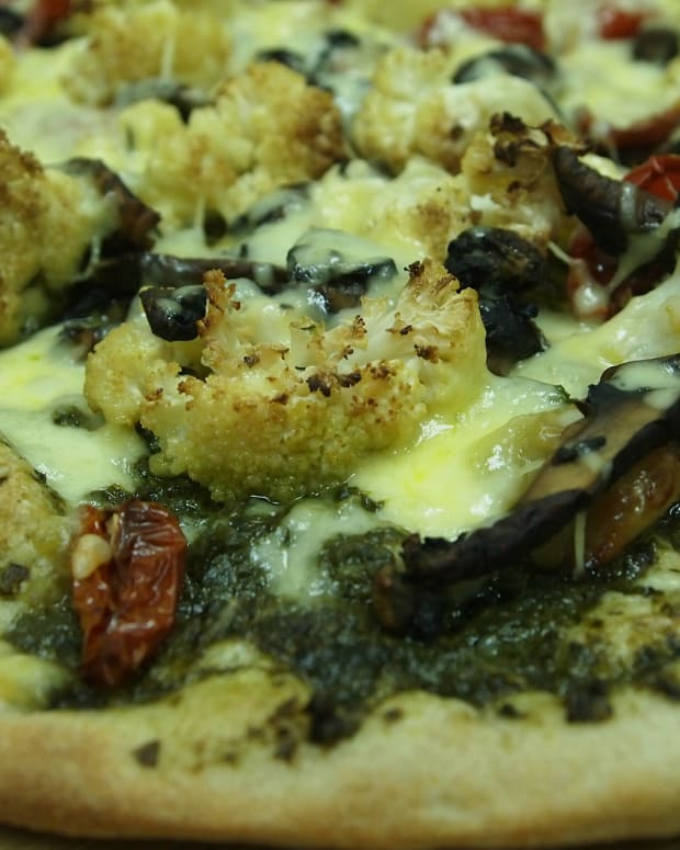 Laffa Pizza with Roasted Cauliflower and Pesto