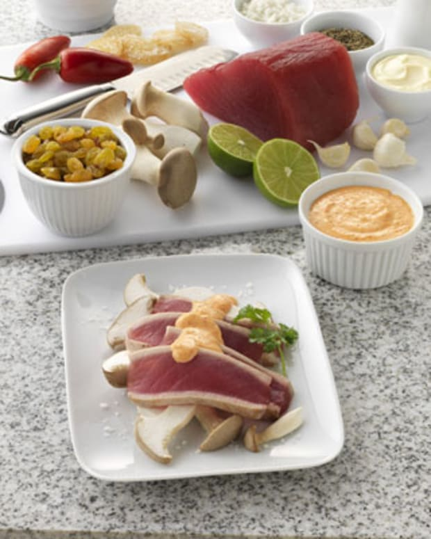 Ahi Tuna with California Golden Raisin-Ginger Cream on Royal Trumpet Mushrooms