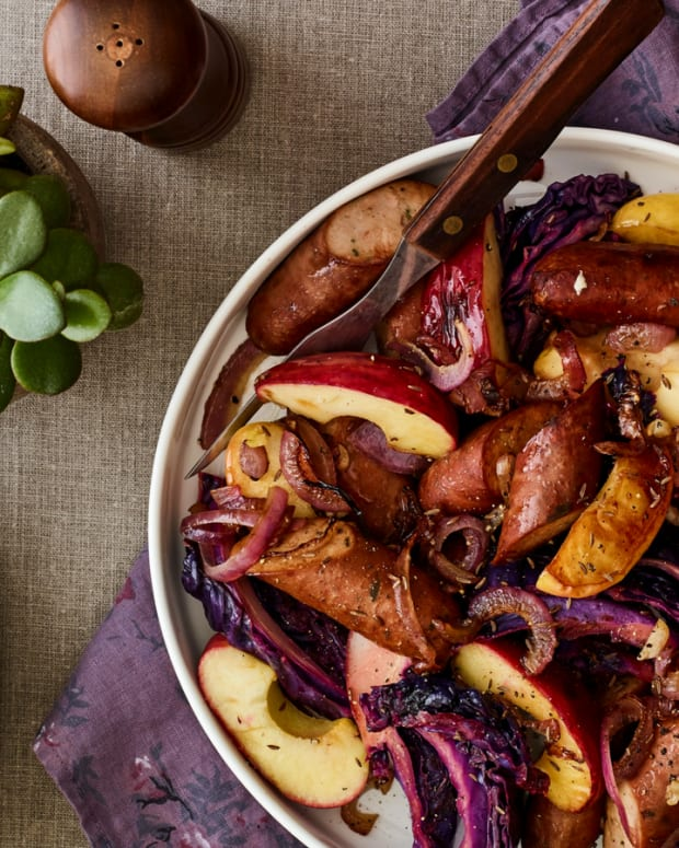 Pan Roasted Apples Cabbage and Sausage