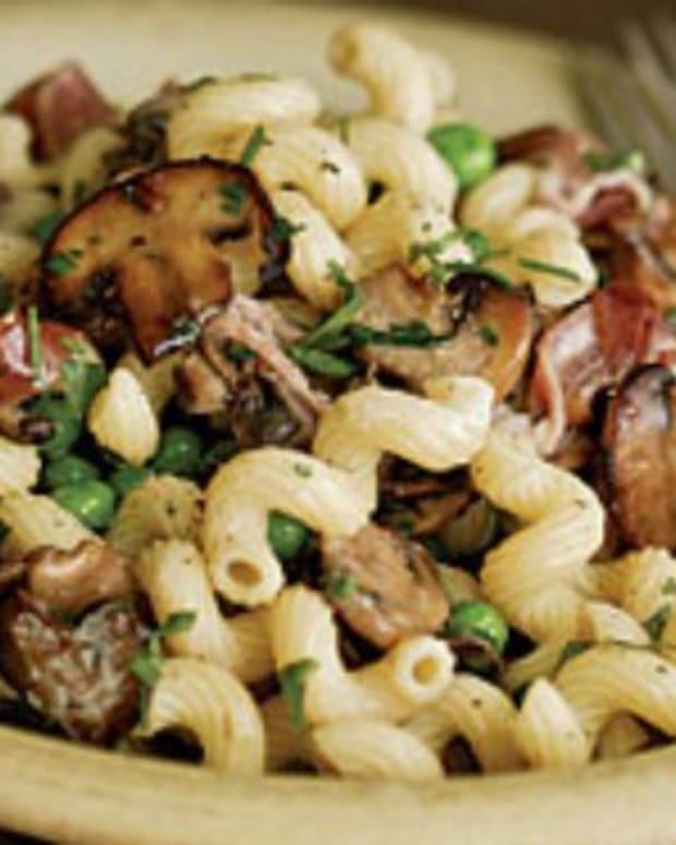 pasta wild mushrooms and greens