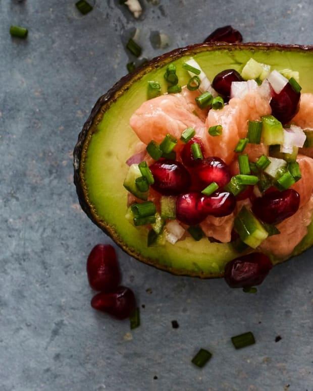 salmon ceviche avocado