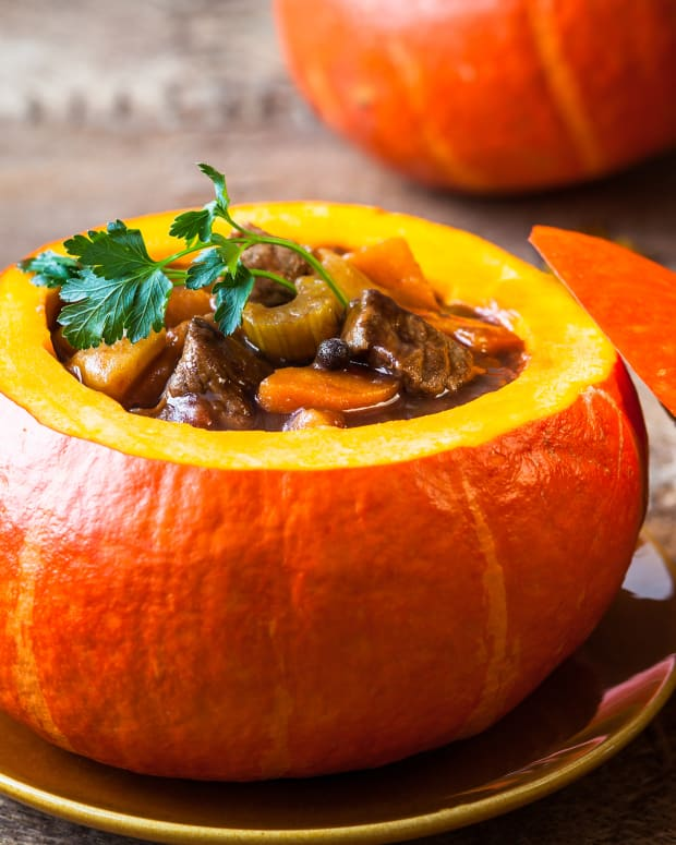 Beef stew in a pumpkin shell