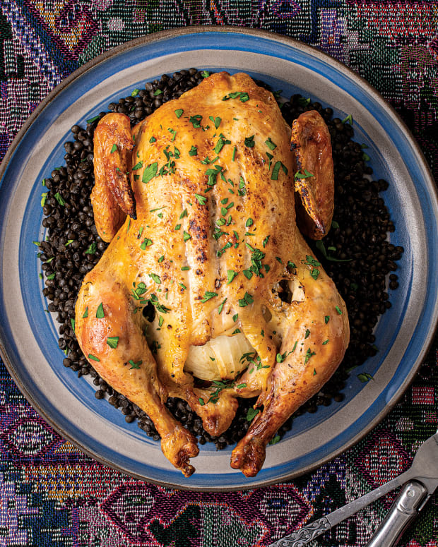 ROAST CHICKEN WITH SCHMALTZ MASSAGE AND LE PUY LENTILS wide