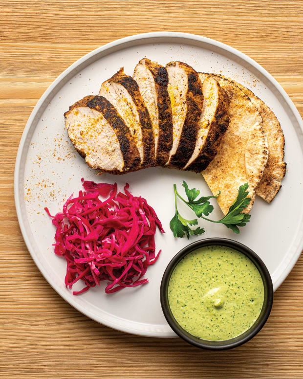 TURKEY SHAWARMA WITH GARLIC AND HERB TAHINI AND PICKLED RED CABBAGE wide