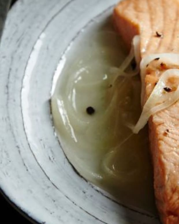 sweet and sour poached salmon