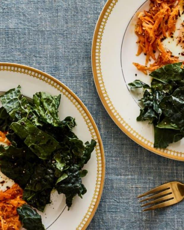 sweet potato latke and kale