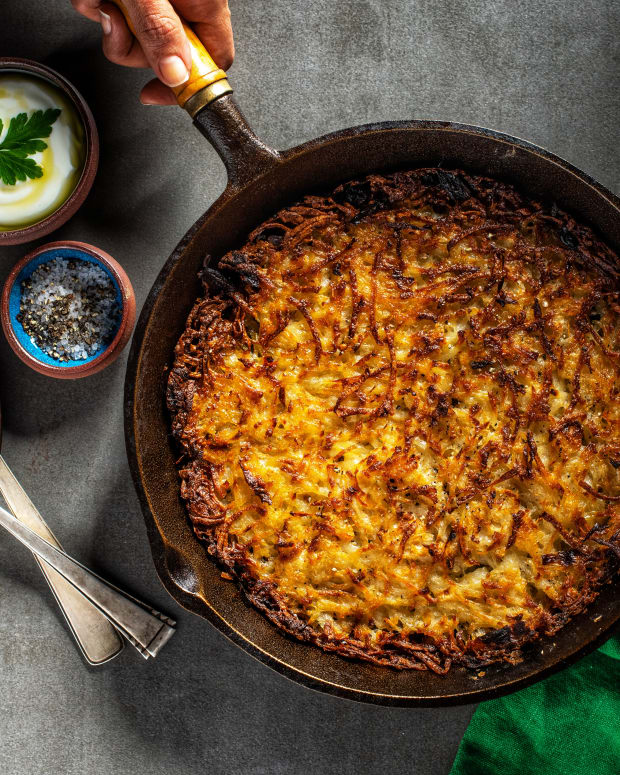 Vegan potato kugel wide