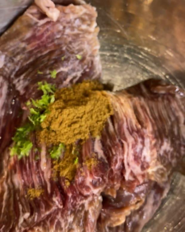 Mexican Skirt Steak With Corn - skillet dinner