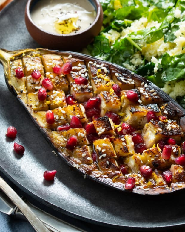 roast eggplant with kale and couscous