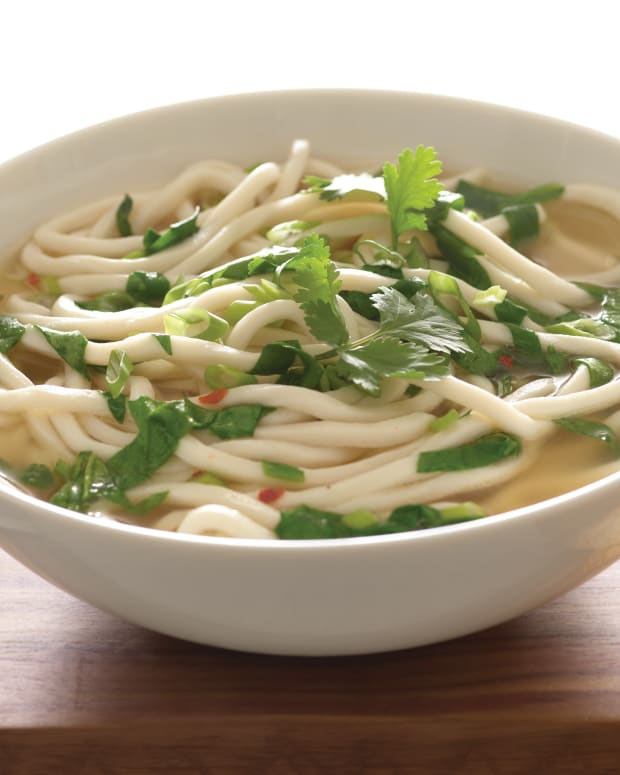 Spicy Spinach Miso Soup with Udon Noodles