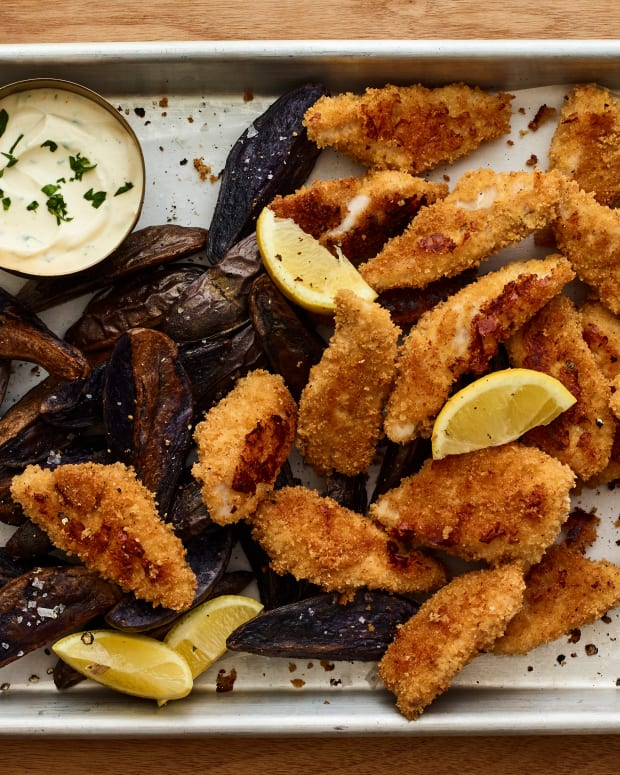 sheet pan fish and chips