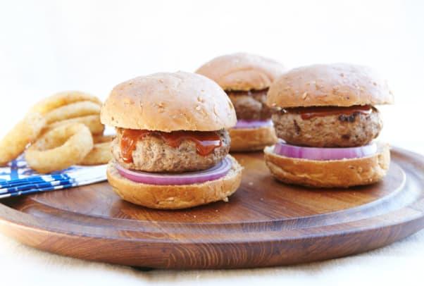 Buffalo Sliders with Crispy Onion Rings