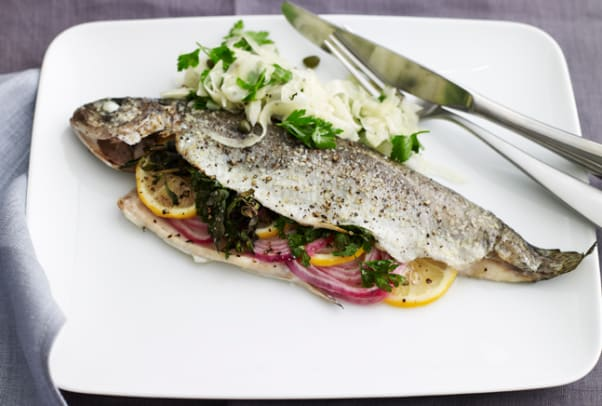 Mediteranean Baked Trout with Fennel Salad