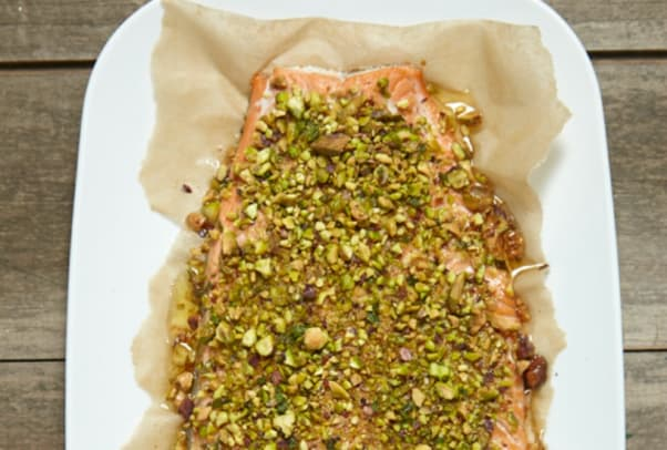Pistachio-Flaxseed Crusted Salmon