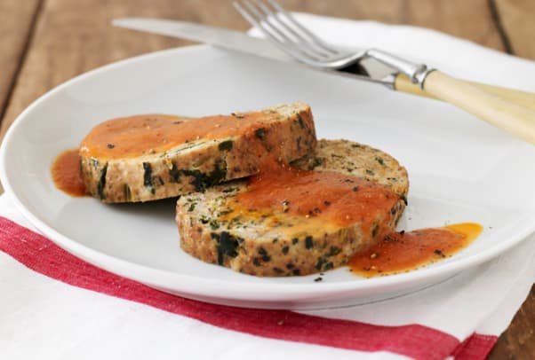 Turkey Spinach Meatloaf with Tomato Sauce