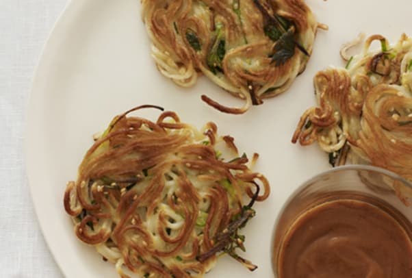 Sesame Scallion Lomein Pancakes