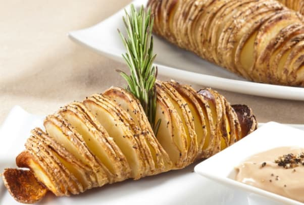 Hasselback Potatoes with Balsamic Mayonnaise Dipping Sauce