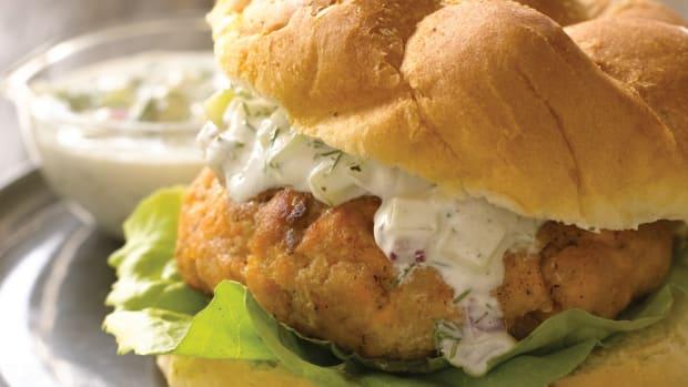 salmon burger with cucumber dill sauce_JG cookbook