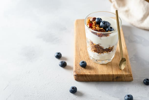 Yogurt Parfait with granola and blueberries