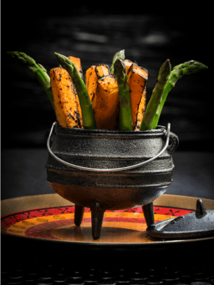 roasted sweet potato and asparagus