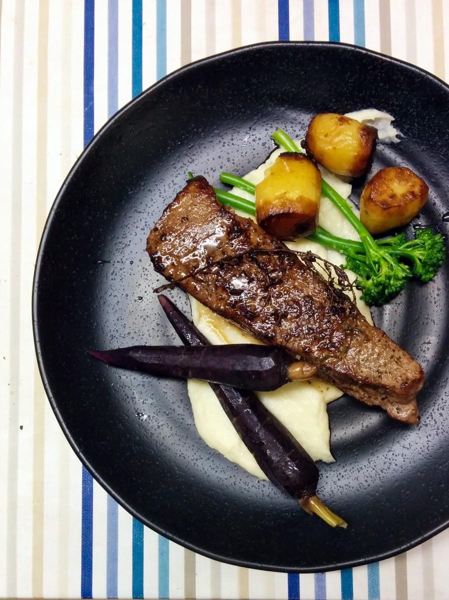 Sous Vide Steak with Mini Potato Fondants